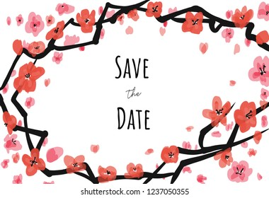 Vector invite card sacura on white background with Save the date caption. For weddings, greetings, invitations.