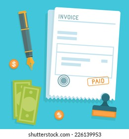 Vector invoice concept in flat style - bill icon with stamp paid