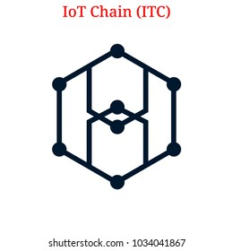 Vector IoT Chain (ITC) digital cryptocurrency logo. IoT Chain (ITC) icon. Vector illustration isolated on white background.