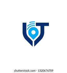 Vector IOT LT Letter With Map Pin Alert Tracking Logo Design