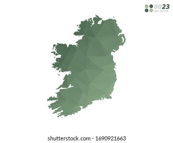Vector of Ireland map green polygon triangle mosaic with white background. style gradient.