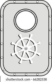 Vector Iron ship door with window and lock wheel isolated on white background