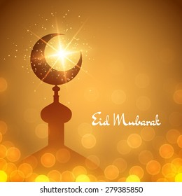 Vector islamic background with mosque and lettering Eid Mubarak. Illustration with lights and bokeh
