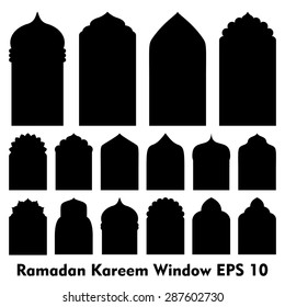 Vector Islamic door and window shapes / Arabic door and window vector silhouette