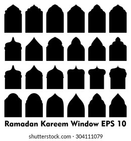 Vector Islamic door and window shapes / Arabic door and window vector silhouette