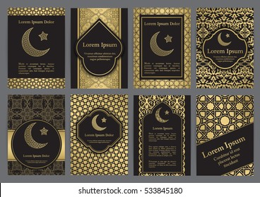 Vector islamic ethnic invitation design or background. Gold and black colors