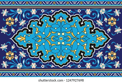 Vector Islamic frame for holiday cards. Color majolica with space for text. Ornament in Eastern, Iranian, Arabic and Bukhara style.