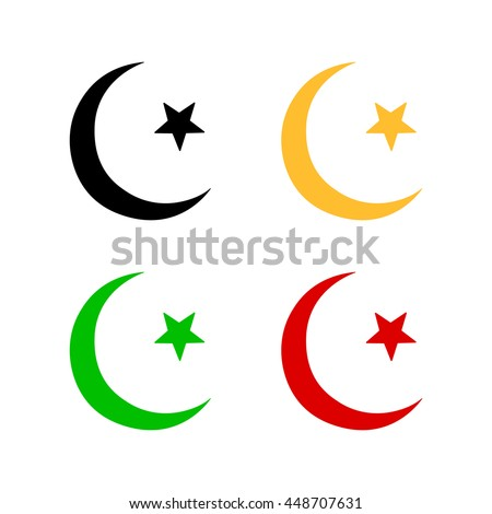 Vector Islamic Sign Isolated Star Crescent Stock Vector Royalty