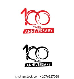 Vector isolated anniversary date logo template for business company birthday icon design element. One hundred abstract sign. Happy jubilee, 100 years. 100th year.