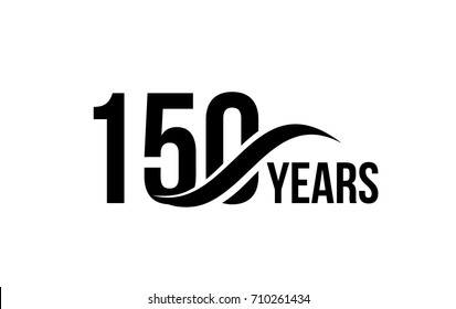 Vector isolated anniversary date logo template for business company birthday icon design element. One hundred fifty abstract sign. Happy jubilee, 150 years. 150th year.