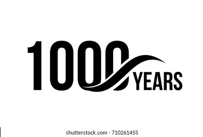Vector isolated anniversary date logo template for business company birthday icon design element. One thousand abstract sign. Happy jubilee, 1000 years. 1000th year.