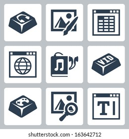 Vector isolated applications icons set: audio and video player, image editor and browser, spreadsheet application, internet browser, audiobook, games and text editor