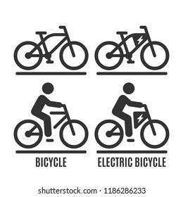 Vector isolated bicycle and electric bike icon. Cycle no human and with rider on road silhouette symbol.