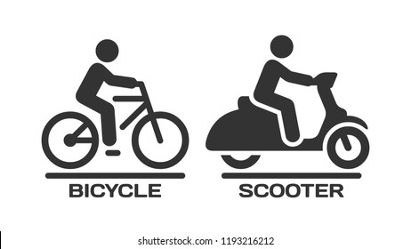 Vector isolated bicycle and motor scooter icon. Motorcycle and bike with rider on road silhouette symbols.