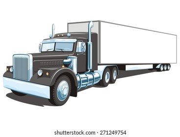 Vector isolated black semi truck on white background without gradients and transparency