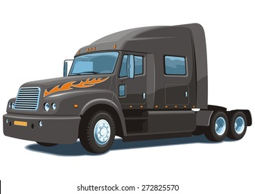 Vector isolated black semi truck on white background without gradients.