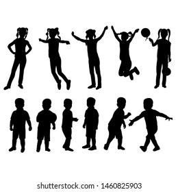 vector, isolated, black silhouette child boy and girl set