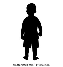 vector, isolated, black silhouette of a child, boy