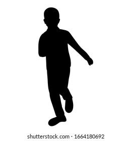 vector, isolated, black silhouette child runs
