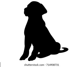vector, isolated black silhouette of a dog sitting