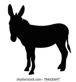 vector, isolated black silhouette of a donkey, it is worth