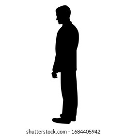 vector, isolated, black silhouette man, guy stands