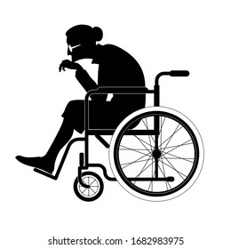 Vector isolated black silhouette of an old woman sitting in a wheelchair, in profile, lonely elderly woman, sick, weak grandmother