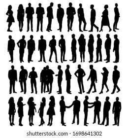 vector, isolated, black silhouette people, set
