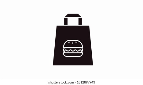 Vector Isolated Black and White Burger Take Away Bag Icon or Sign