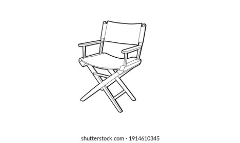 Vector Isolated Black and White Illustration of a Director´s Chair