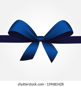 Vector Isolated Blue Gift Bow with Ribbon