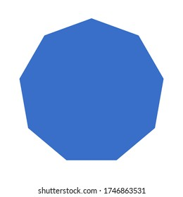 Vector isolated blue simple nonagon on white background, flat object and flat icon on white background, geometric shapes, 2D shapes, 2D polygon, poster and postcard, illustration
