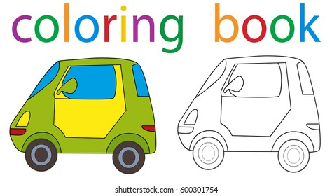 Vector, isolated book coloring small car