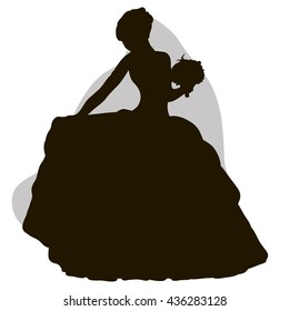 vector isolated bride silhouette , wedding