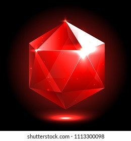 vector isolated bright colorful realistic crystal. Magic glossy jewel for mobile game design or user interface. Shiny glass icosahedron ruby