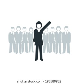 Vector isolated business women leadership concept illustration.