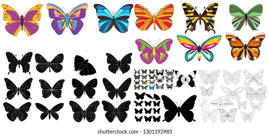 vector isolated, butterflies in a set