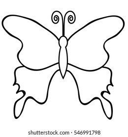vector, isolated, butterfly outline