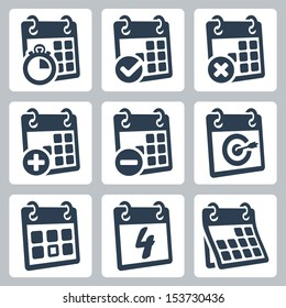 Vector isolated calendar icons set