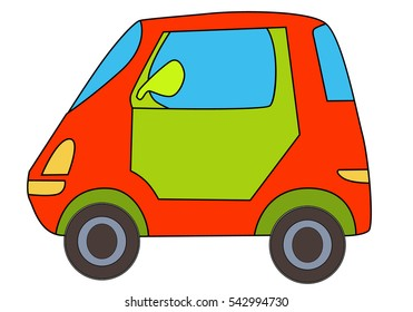 vector, isolated car cartoon character