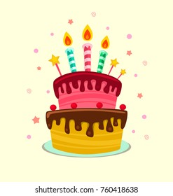 vector isolated cartoon delicious birthday layer cake with candle and chocolate illustration template