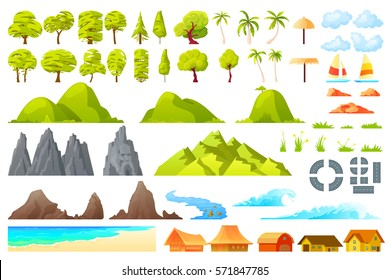 Vector.  Isolated cartoon landscape constructor set with sample palms reefs waves beach umbrellas boats trees houses hills road rocks mountains grass flowers clouds river for combining banners
