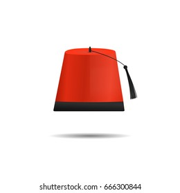Vector isolated cartoon Turkish hat Fez on the white background for decoration.