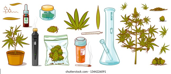 "Vector isolated cartoonish  SUPER SET ""Alternative Medicine"". Included: Different marijuana plants with buds(heads) and leafs, bong, vaporizer, joint, CBD oil and molecule, bottle,orange pill can"