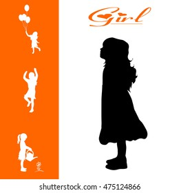 Vector isolated collection of different girl silhouettes