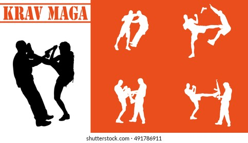 Vector isolated collection of krav maga silhouettes