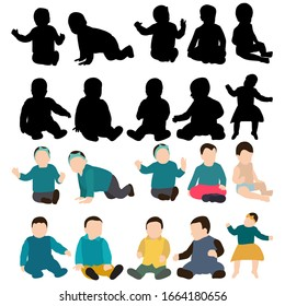 vector, isolated, collection, set of babies silhouettes