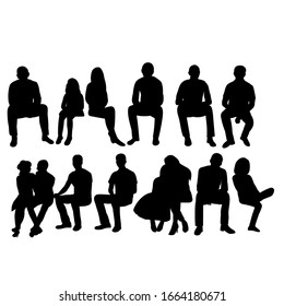 vector, isolated, collection, set of silhouettes of people sitting