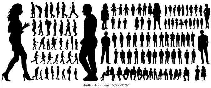 Vector, isolated, a collection of silhouettes of people men and women