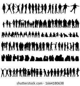 vector, isolated, collection, silhouettes set of people, children and parents